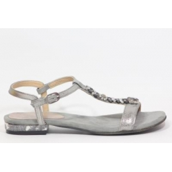 Sandalia com brilhantes, palmilha em pele almofadada