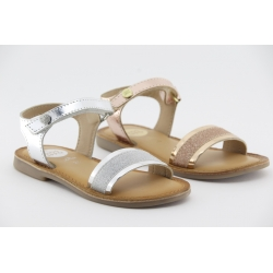 Sandália com tira com glitter NADIAD em pele e palmilha em couro almofadada GIOSEPPO